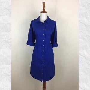 Odille Anthro Lapis Lazuli Roll Tab Shirt Dress